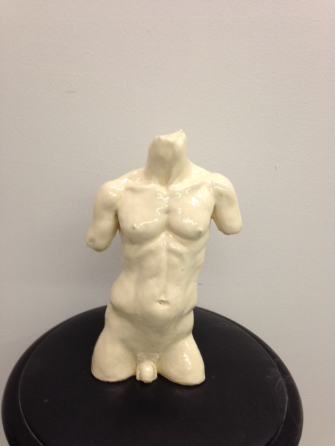 Male Torso by James Fatata - Glazed stoneware - 11x7x3 80.00