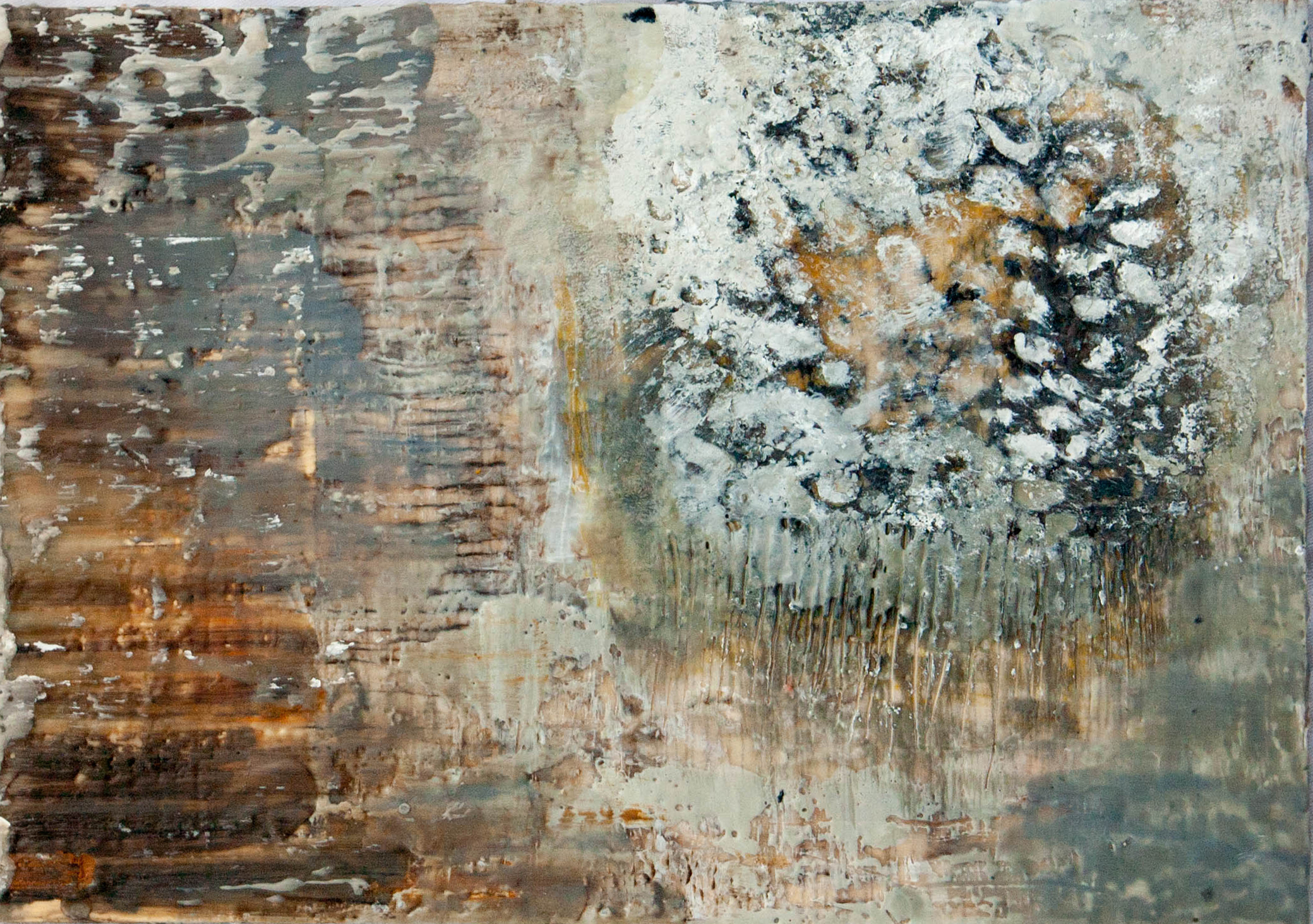 Megan Bostic - Almost Always (detail) - encaustic on wood - 39 x 8.5: 2013 300.00