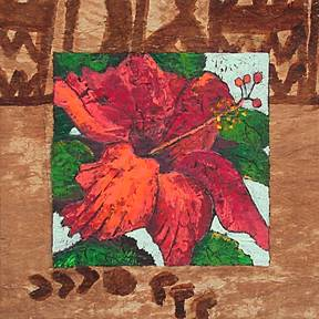 Pamela George - Pacific Island Study Hibiscus - Cold Wax on Antique Tapa Cloth on Panel - 12 x 12 225.00