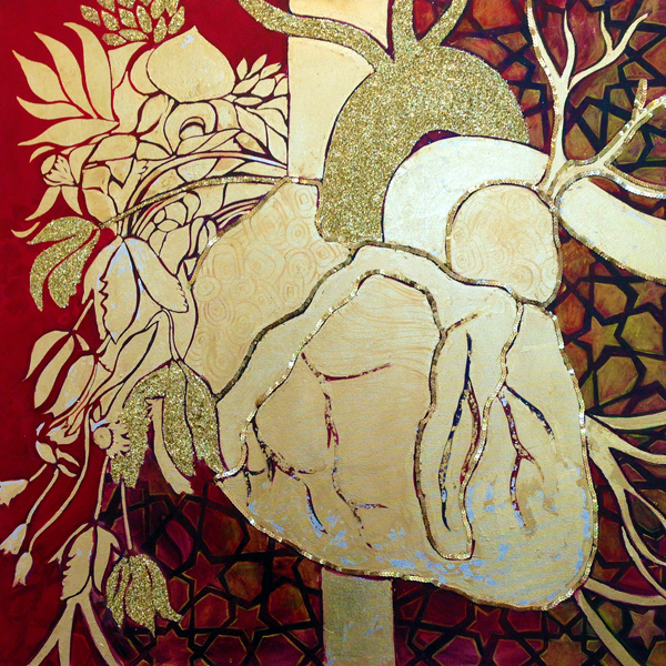 Tree of Life by Saba Barnard - Mixed media on canvas - 36 x 36 - 2013 *The artist will donate half of this sale to Syrian Refugee Relief
