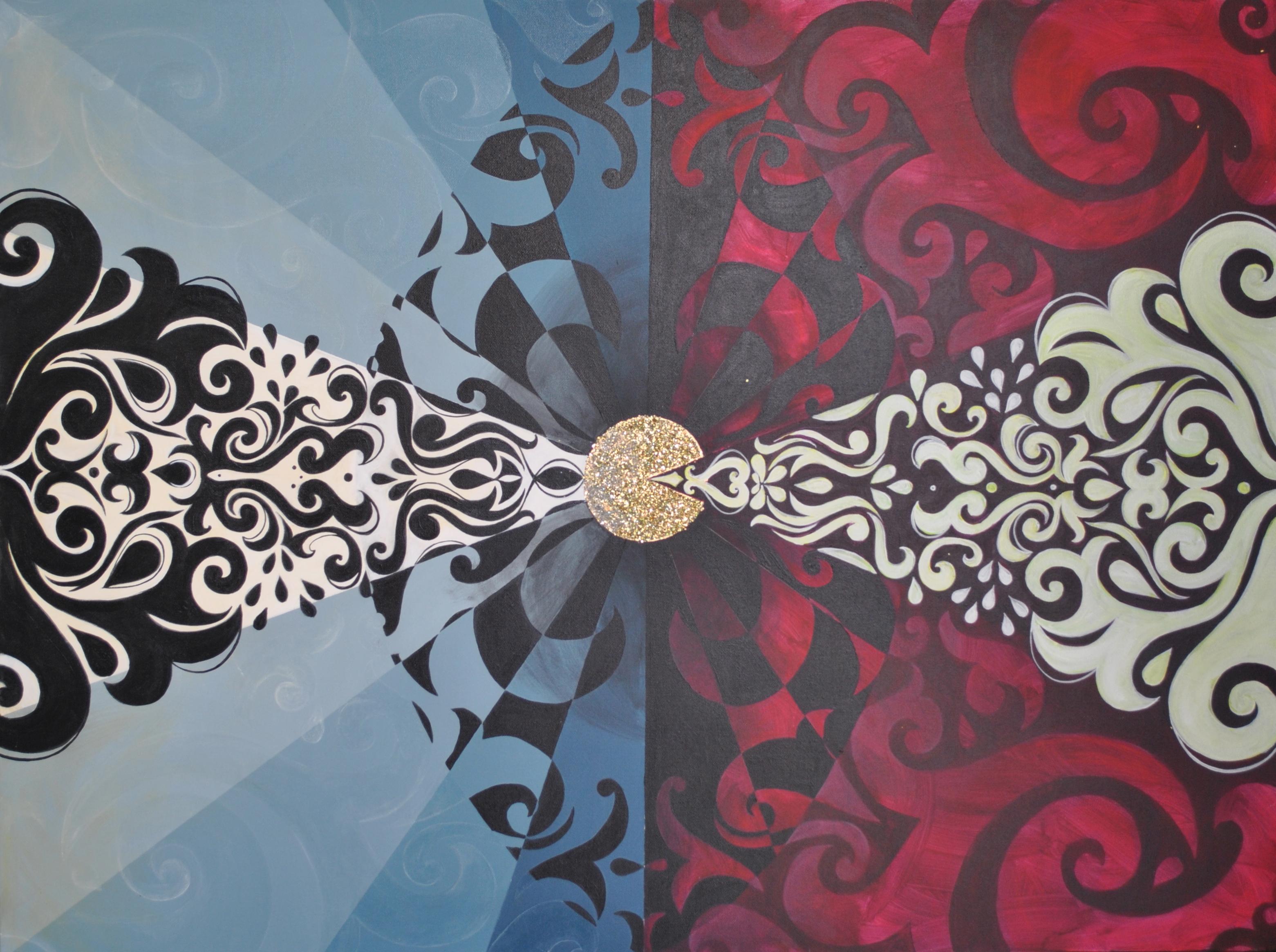 Vesica Pisces - Saba Barnard - Acrylic paint and glitter 700.00