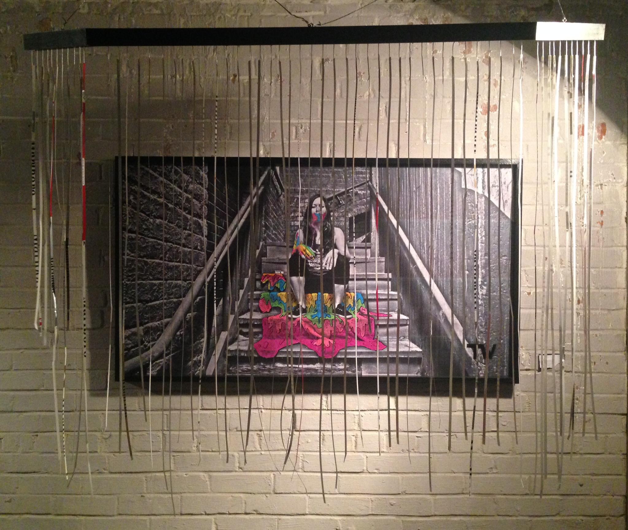 Smoke Girl by Tony Waldron - Laser jet - Prismacolor ink marker - paint marker - wheat paste - 53 x 30, 2014 0.00